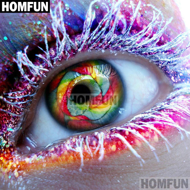 HOMFUN Full SquareRound Drill 5D DIY Diamond Painting Colored eyes 3D Embroidery Cross Stitch 5D Home Decor Gift A01828