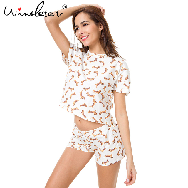 New 2018 Pajama Sets Women Cute Dachshund Print 2 Pieces Set Crop Top + Shorts  Elastic c3570f45d