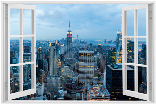 New York City Skyline Window 4 Poster Custom Satin Print Cloth Fabric Wall Silk In Stickers From Home Garden