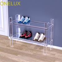 New Durable Double Layer Acrylic Storage Shoe Rack,Lucite Occasional Sofa Magazine Tables V Legs (Flat Packed)