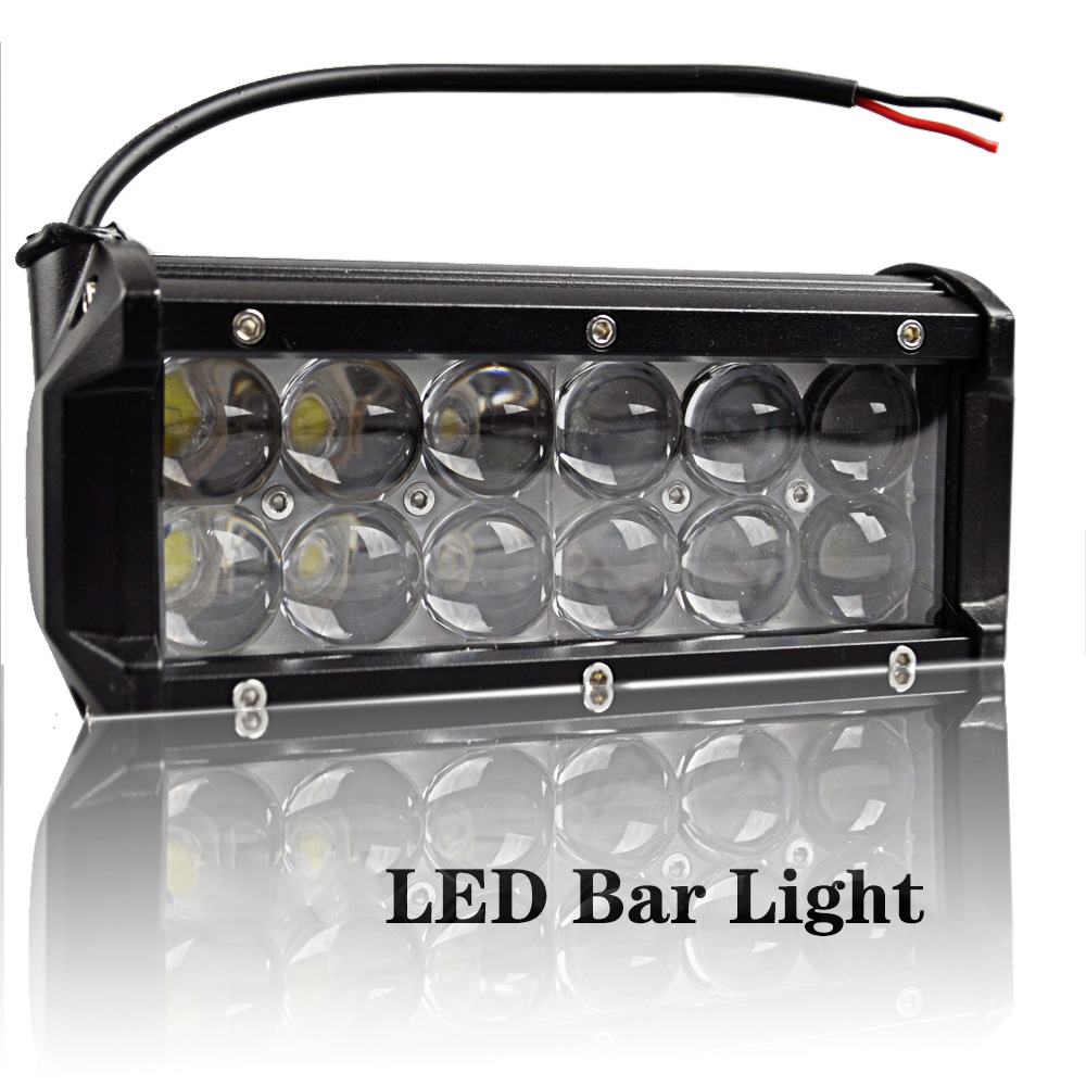LED Bar Light 36W DC12-80V 6500K Cool White Waterproof IP67 Straight Super Brightness for Car Motorcycle
