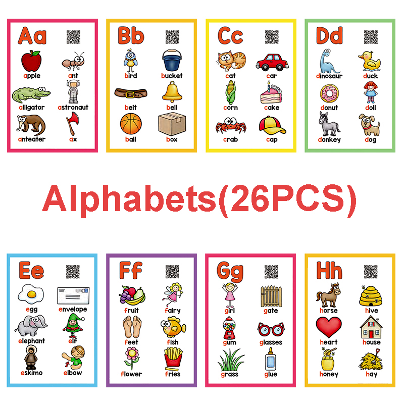 Us 7 84 26 Off A Z English Flashcards Abc 26 Letters Alphabet Word Pocket Cards Learning Educational Toys For Children Kids Games Montessori On