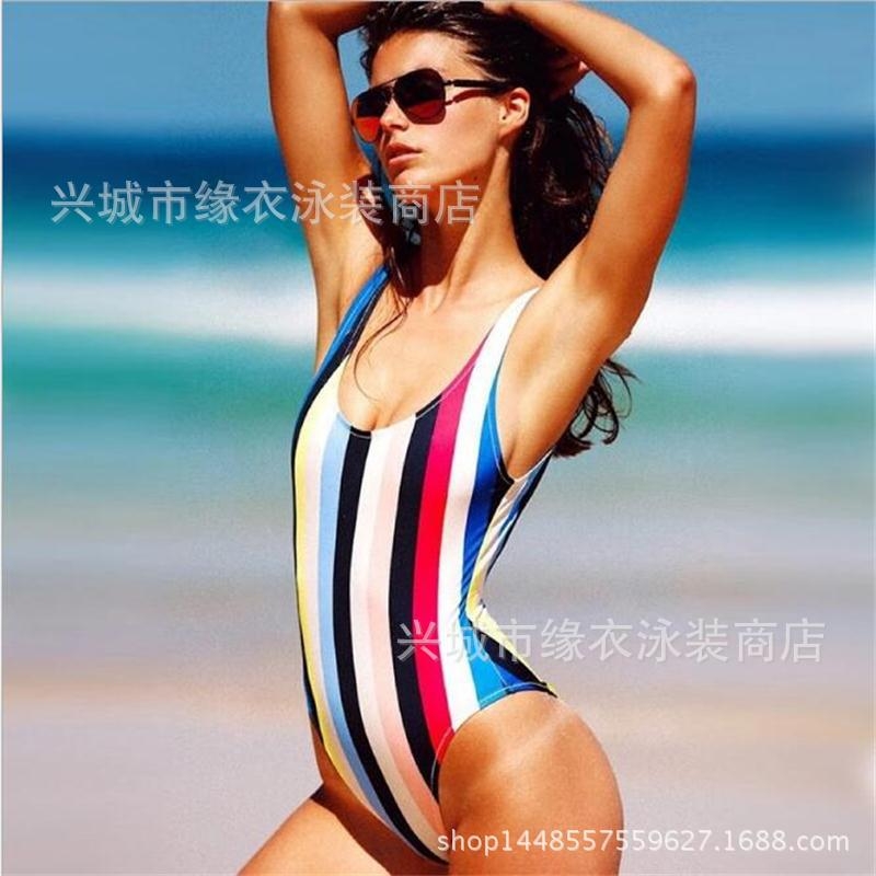 Europe and the United States new women's fast selling agent Agent Provocateur Siamese bikini color striped swimsuit europe and the united states cross bikini one piece swimsuit