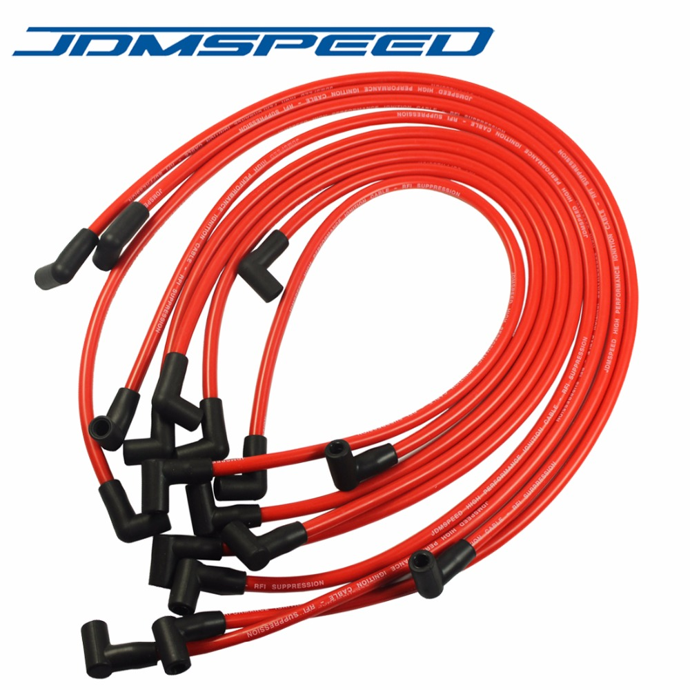 Plug-Wire-Set Spark High-Performance Electronic 350 HEI SBC JDMSPEED Red-Color 383 454