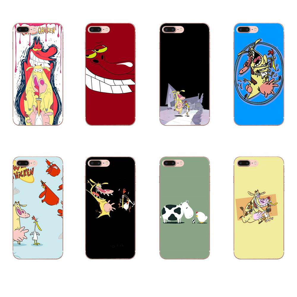 Soft Mobile Pouch Cute Cartoon Movie Cow And <font><b>Chicken</b></font> For <font><b>Apple</b></font> <font><b>iPhone</b></font> 4 4S 5 5C 5S SE <font><b>6</b></font> 6S 7 8 Plus X XS Max XR image
