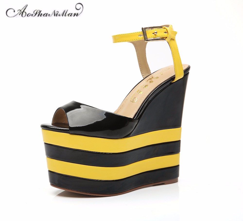 Newest summer top quality Fashion design women platform sandals 100% real leather thick sole summer shoes casual shoes 16cm heel 2017 newest geometric embossing design 100