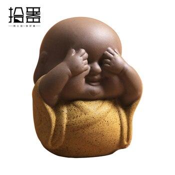 1 Pieza 2018 Estilo Chino Arcilla Púrpura Yixing Té Mascota Decoración Púrpura Buda Pequeño Monje Mini Linda Mascota Para Té Accesorios Regalo