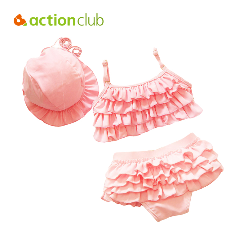 Actionclub Kids Swimwear Girls Two Pieces Child Swimsuit With Ruffle Mermaid Tails For Children Bikini Baby Bathing Suit SA106