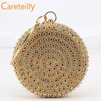 Colorful Diamond Evening Bag Round Ball luxury handbags women bags designer Gold Clutch Purse Handbag Chain Bag