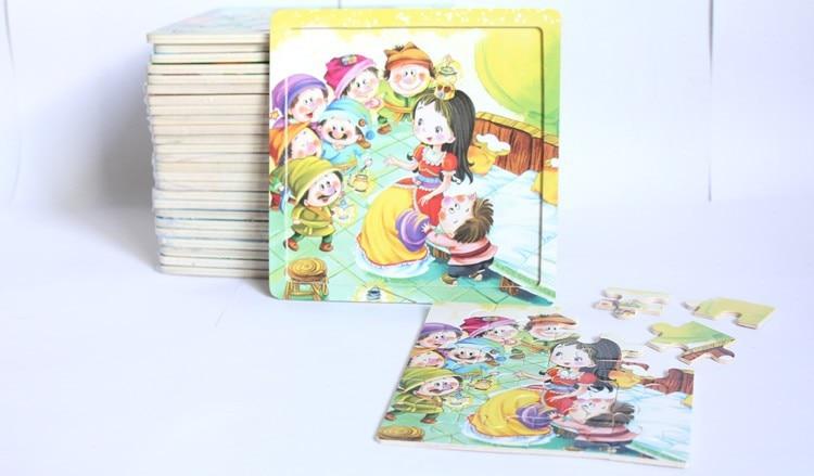 20 jucării puzzle-uri de puzzle PC-uri din lemn / Copii copii asambla Jigsaw puzzle 14.8 * 14.8cm învățare jucării educative Transport gratuit