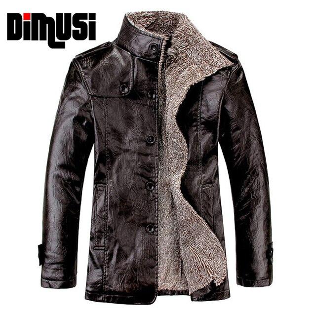 Aliexpress.com : Buy Leather Jacket Men Winter Thick Inner Wool PU ...
