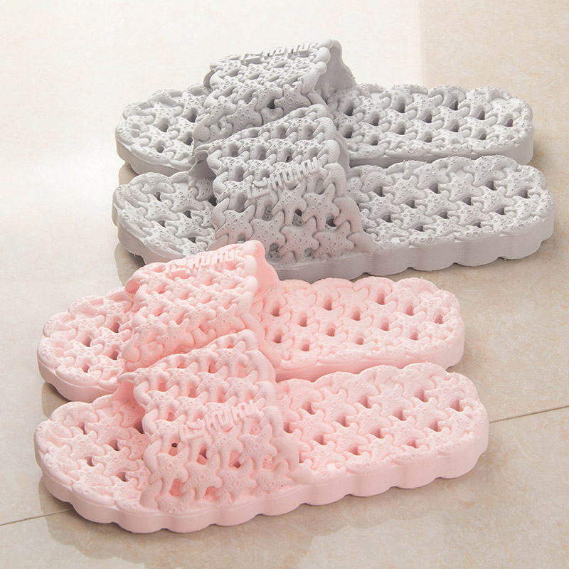 Korean men and font b women b font bathing Water Leakage indoor bathroom slippers hollowed out
