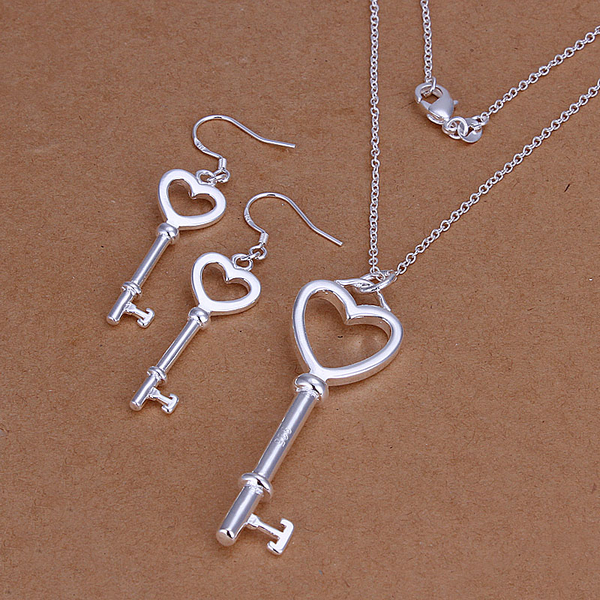 Wholesale fashion jewelry set, 925 silver necklace + earrings heart two pieces of silver foreign trade S199