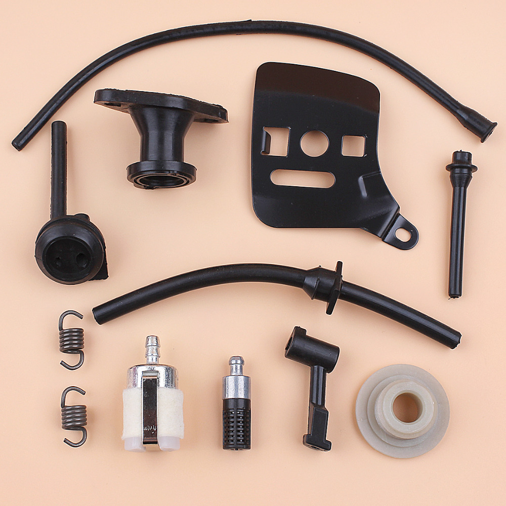 Fuel Oil Hose Filter Worm Gear Intake Manifold Bar Plate Kit For Chinese 2500 25cc Chainsaw 2-Stroke Small Saws Spare Parts