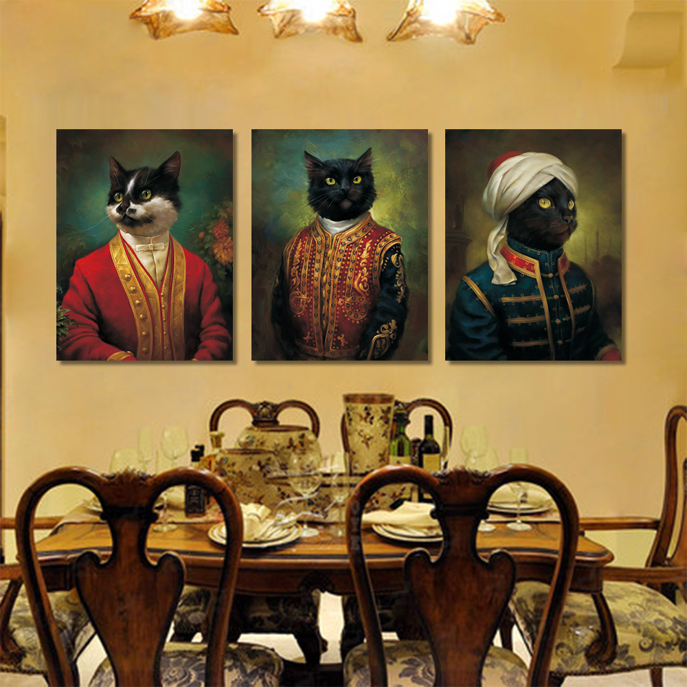 Vintage Canvas Painting Cartoon Portrait Cardinal Cat Wall Art Prints Pictures For Living Room Decoration Posters And Prints