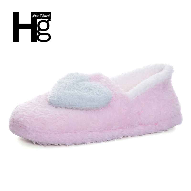 HEE GRAND Women Love House Women Slippers Cozy Lighted Plush Fur Booties Home Floor Shoes for Pregnant Ladies or Wife XWT520