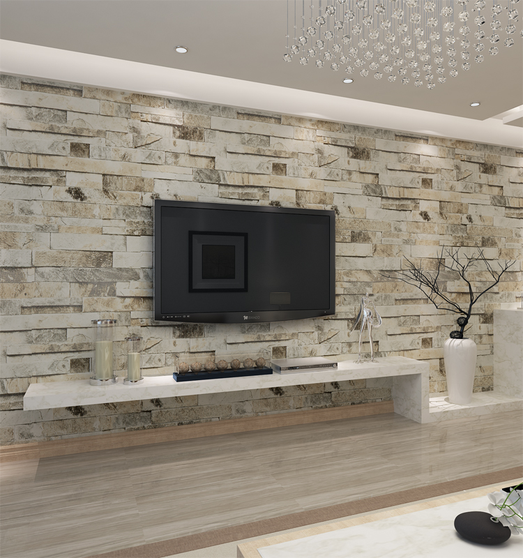 Hanmero pvc vinyl modern faux brick stone 3d wallpaper for 3d wallpaper for bathroom