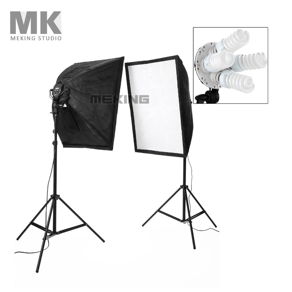 Meking Photography Studio Continuous Lighting Kit Lighting Softbox Light Stand with 28W 220V Bulb ashanks 800w studio video red head light with dimmer continuous lighting bulb free shipping
