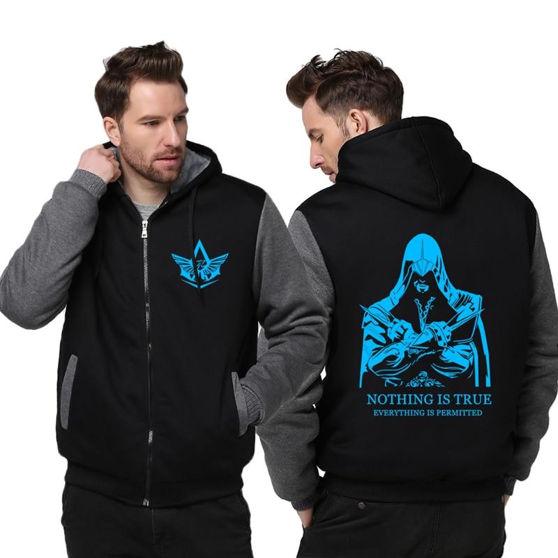 New Thicken Fleece Hoodie Unisex Luminous Coat Zipper Jacket Assassin Creed Top Clothing MEN WOMEN