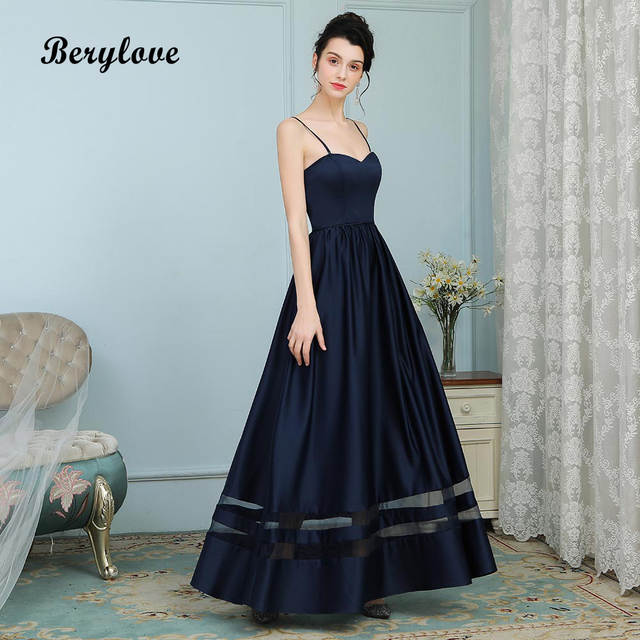 Detail Feedback Questions about BeryLove Charming Evening Dresses Long  Spaghetti Straps Navy Prom Dresses 2018 Satin Formal Evening Dress Party  Gowns For ... d39d3c177b8c
