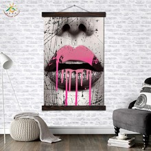 Dripping Lips Graphic Art Modern Canvas Prints Poster Wall Painting Scroll Artwork Pictures Home Decor