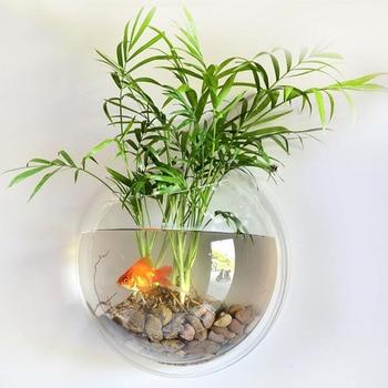 Behogar Dia15cm Mini Acrylic Round Fish Bowls Wall Mounted Hanging Aquarium Tank Aquatic Pet Flower Plant Vase Tank Fishbowl 1