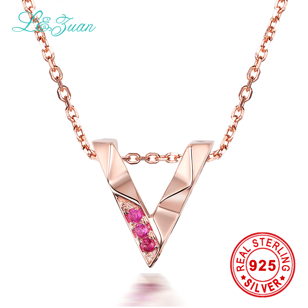 Brand Luxury 18K Rose Gold Natural 0.029ct Ruby Red Stone Necklace & Pendant For Women Gift