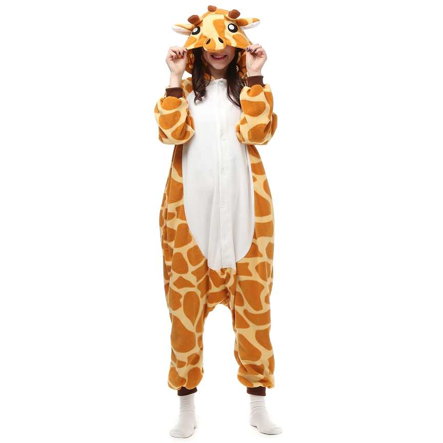 Polar Fleece Kigurumi Cosplay Costume giraffe Cartoon Animal Onesie Pajama Halloween Carnival Masquerade Party Jumpsuit Clothing