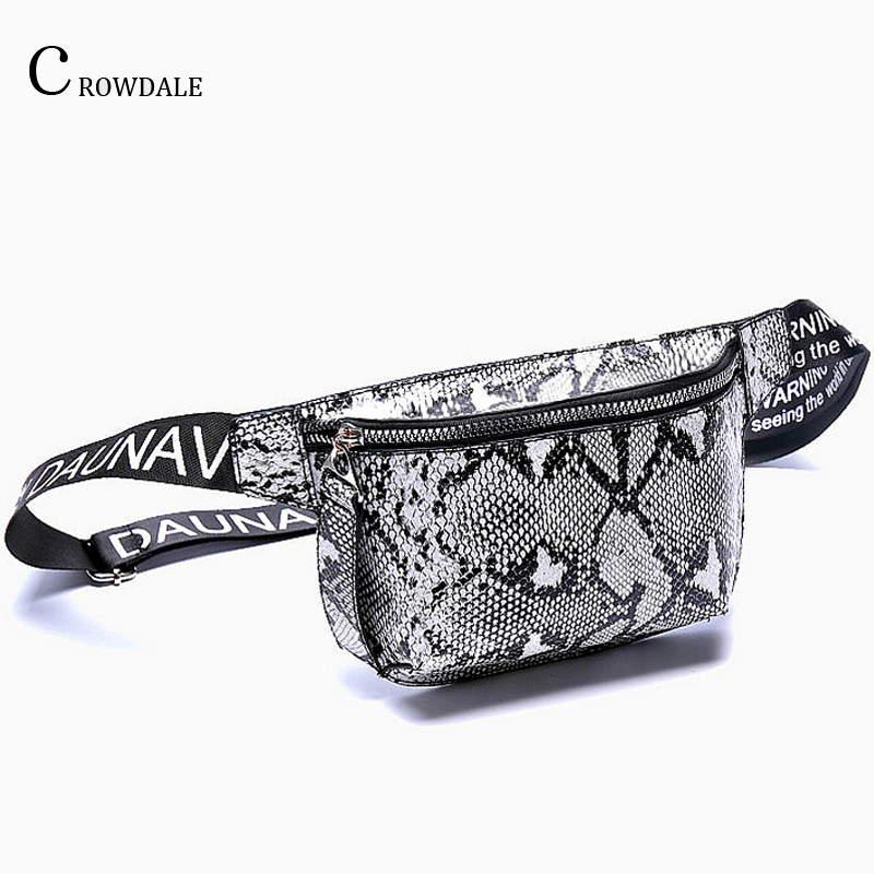 CROWDALE Serpentine Waist Bag Women Fanny Pack New Designer Women Leather Messenger Bag Female Shoulder Belt Bag Money Pocket