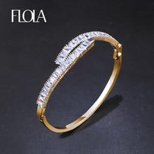 FLOLA известный бренд кубического циркония золотой браслет для женщин CZ Камень Открытый браслет для женщин Свадебная вечеринка ювелирные изделия brtk59