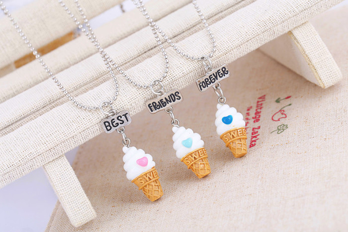 <font><b>3</b></font> Pcs/Set Best <font><b>Friends</b></font> <font><b>BFF</b></font> resin ice-cream pendant bead chain <font><b>necklace</b></font>,<font><b>3</b></font> colors lead nickel cadmium free kids jewelry image