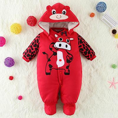 Nueva caliente chaqueta del bebé caliente grueso algodón ropa de bebé Romper leotardo otoño y el invierno ropa recién nacido 0-1 años de edad la primavera