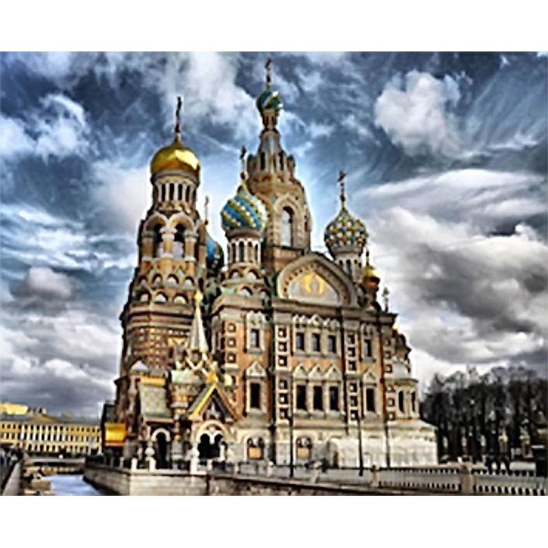 3D Diy diamond painting cross stitch Diamond embroidery kits Church of Our Savior on Spilled Blood Picture Christmas gift