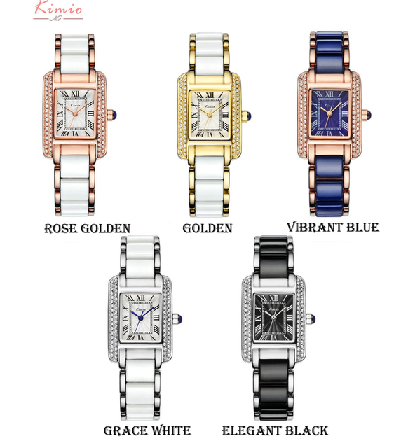 Kimio Women Quartz Watch Fashion Blue Square Diamond Bracelet Watches Brand Imitation Ceramics Student Waterproof  Wristwatch