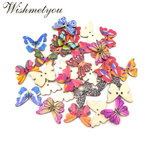 WISHMETYOU 50pcs 2.7cm Mix Colorful Pattern Wood Buttons Diy Scrapbooking Butterfly Sewing Button Handmade Wooden Craft Supplies