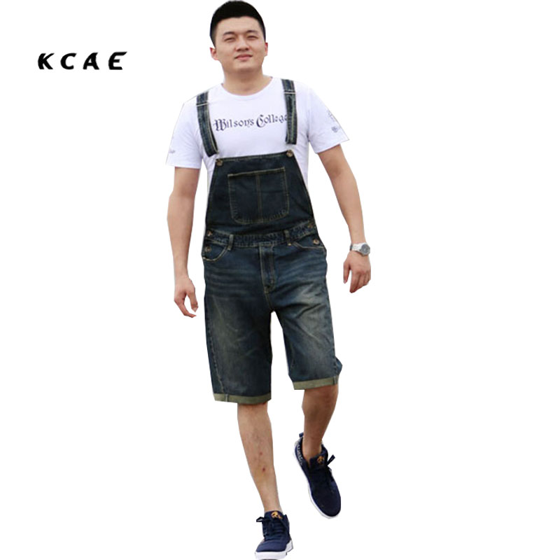 Men's Plus Size S M L XL XXL 3XL 4XL Denim Shorts Casual Pocket Overalls Loose Jumpsuits Bib Pants men s bib jeans 2016 new casual front pockets blue denim overalls boyfriend jumpsuits male suspenders jeans size m xxl