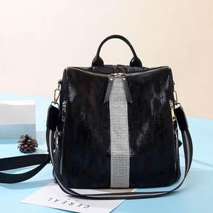 Image 2 - Animal Prints Backpack Women 2020 School Bags for Teenage Girls Vintage Diamonds Bagpack Large Capacity Travel Backpack XA445H