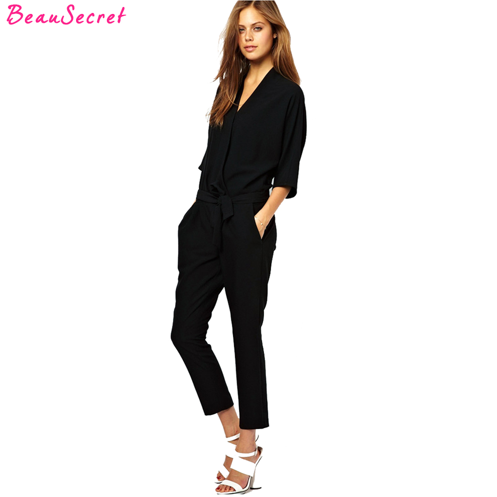 European and American fashion elegant lace chiffon jumpsuits piece pants 2017 summer autumn rompers womens jumpsuit black blue
