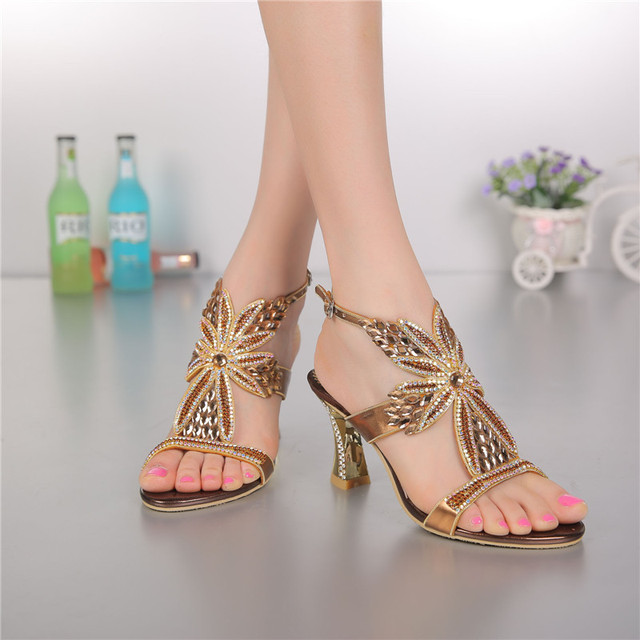 Women's Shoes High Fashion Summer New Elegant Pumps Diamond Open ...
