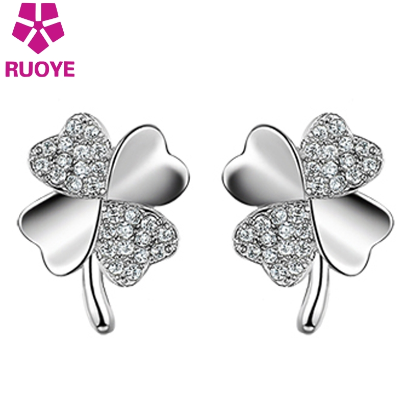 "Nauji mados auskarai ""Love Lucky Clover Crystal Flower Female Ear Jewelry oorbellen kolczyki"