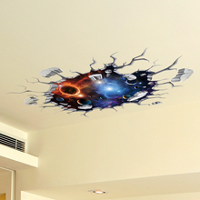 [shijuekongjian] Universe Celestial Body 3D Ceiling Stickers DIY Mural Decals for Kids Rooms Living Room House Floor Decoration