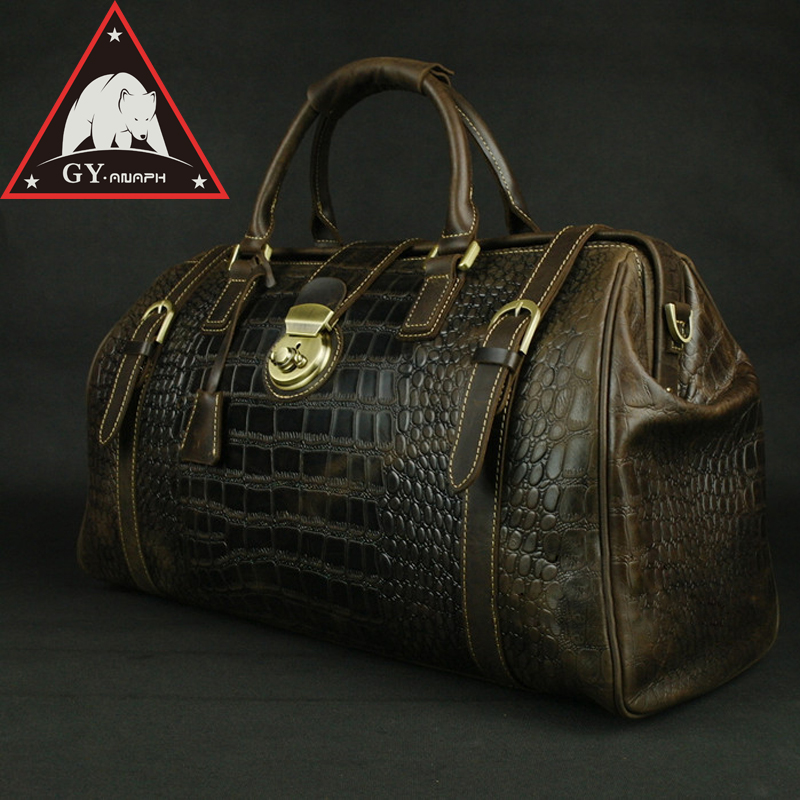 ANAPH Holdall, Men's Travel Tote Alligator Patent Cow Leather Overnight Weekender Duffle Bag, Lock Luggage Suitcase 20
