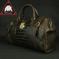 ANAPH Holdall, Men's Travel Tote Alligator Patent Cow Leather Overnight Weekender Duffle Bag, Lock Luggage Suitcase 20 Brown