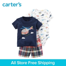 3pcs clothing sets helicopter print tee bodysuits plaid shorts Carter's baby boy soft cotton Spring Summer 121I131