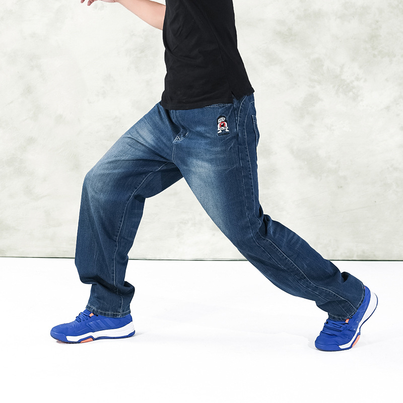 ФОТО 2016 Men Loose Jeans Hip Hop Skateboard Jeans Mens Blue Casual Denim Trousers Plus Size S-6XL