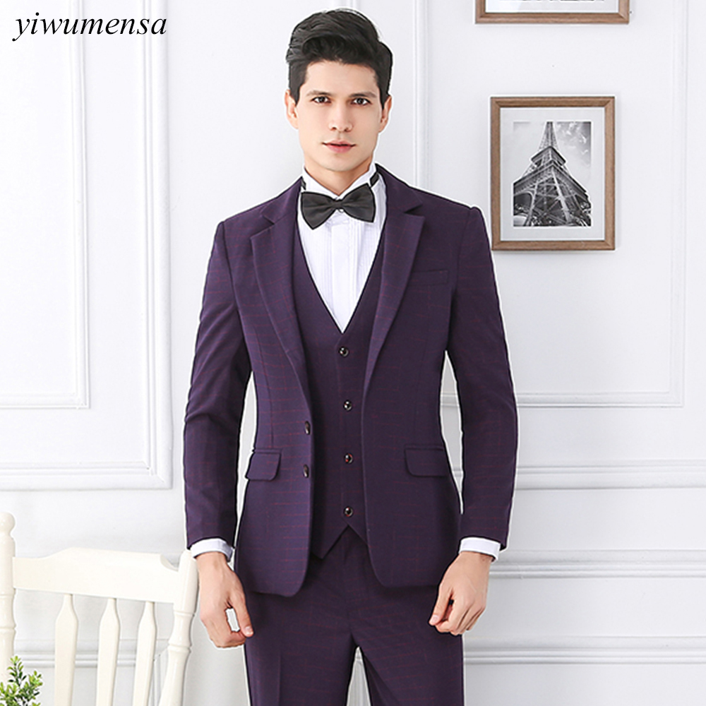 yiwumensa Wine Red Two Buttons Men suit,Custom made 3 Pieces groom suit black tailcoat mens trajes de hombre slim fit Navy Blue