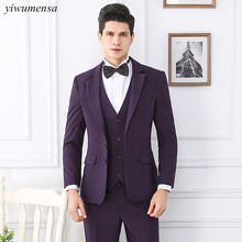 yiwumensa Wine Red Two Buttons Men suit,Custom made 3 Pieces groom suit black tailcoat mens trajes de hombre slim fit Navy Blue(China)