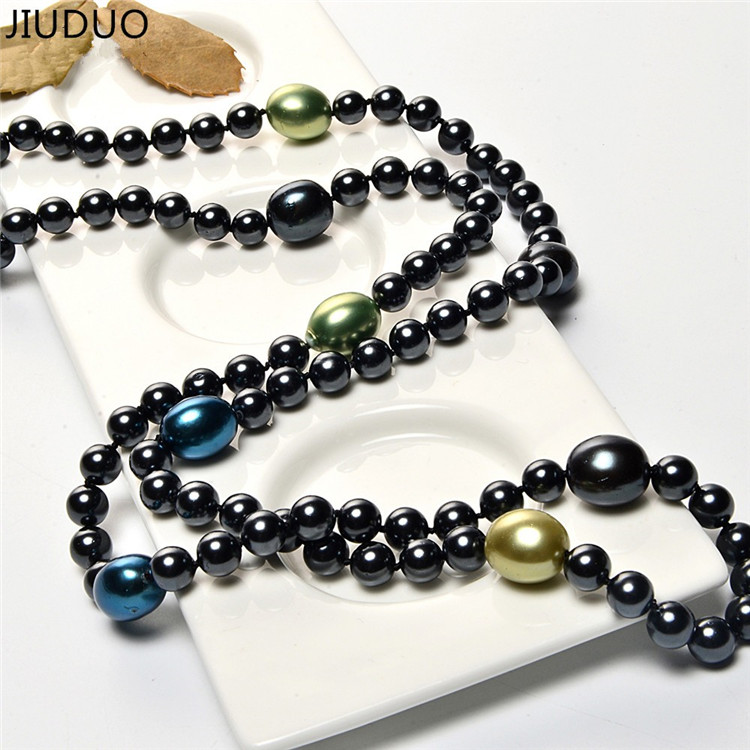 JIUDUO Authentic Nanyang Bezhu perle perle genser kjede 120 cm lang - Fine smykker