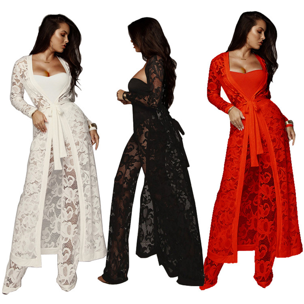 Fashion Beach 3 Piece Set Women Clothes Cardigan Dress+Strapless Crop Tops+Wide Leg Pants Suits Bodycon Outfits Lace Three Piece