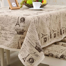 LYN&GY Retro map Tower Print Decorative Table Cloth Cotton Linen Lace Tablecloth Dining Table Cover For Kitchen Home Decor